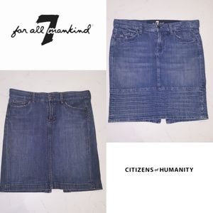 2 denim blue skirts  29 C of H & 7 of all mankind